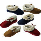 Womens Ladies Washable Faux Full Fur Lined Ankle Warm Slippers Booties  Size