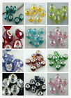 10pcs Silver Plated Crystal Rhinestone Spacer Beads Fit Bracelet 14x10mm