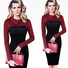 Women Thoundstooth Tapel Pinup Sheath BodyconTUNIC Autumn winter New Dress B238