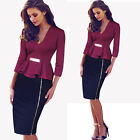 Women Peplum Metal Wiggle Pencil 3/4 Sleeve Bodycon Tunic Work Sheath Dress B241