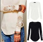 New  Women Button Top Long Sleeve Blouse Casual Tank Tops T-Shirt Lace Fashion