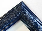 "1.8"" Wide Swirl Navy Blue Solid Wood Picture Frame-Custom Made Standard Size"