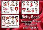 BETTY BOOP 8 TATTOOS temporary loot bag TATTOO party hen night waterproof 1WEEK+ £9.99 GBP on eBay