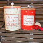 LARGE CHRISTMAS STORAGE JARS RED CREAM DISTRESSED VINTAGE SHABBY CHIC XMAS GIFT