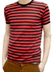Men Stripey Shirt Red Black Indie Mod Sailor New Striped Nautical Punk