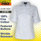 Womens Shirts Blouse Cotton Blue Business Stripe Formal Casual Office Tops White