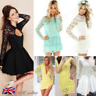UK Sexy Womens Ladies Bodycon Casual Tops Lace Mini Dress Cocktail Evening Party