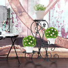 3 TIER Black Floor-Standing Wrought Iron Pot Plant Stand Flower Planter S-Design