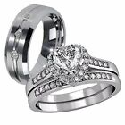 3 Pc Her 925 Sterling Silver His Tungsten AAA CZ Matching Vogue Wedding Ring Set