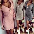 Ladies Women V Neck Bodycon Long Sleeve Zip Clubwear Party Cocktail Mini Dress
