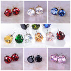Women 8mm Round Crystal Zircon Ear Stud Earrings Wedding Jewelry Silver/Gold