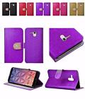 For Alcatel One Touch Fierce XL Shiny Leather Bling Flip Wallet Cover Case