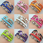 NEW FASHION ANTIQUE SILVER INFINITY LOVE HEART CHARM BRACELET LEATHER CRYSTAL