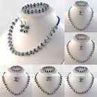 Jewelry Set Crystal Glass Bead Flower Wrap Necklace + Bracelet + Earrings Gift