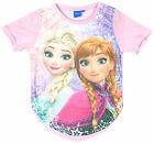 Girls Disney Frozen Anna & Elsa Dipped Hem T-Shirt Top 7 to 13 Years NEW