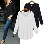 Plus Size Womens V Neck Off Shoulder Long Sleeve Loose Cotton T Shirt Blouse Top