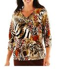 Alfred Dunner Womens Top bryce canyon tribal patchwork 3.4 sleeves size PS NEW