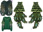 Embroidered Green Peacock Feather Sew on Applique for wedding Trim Two size