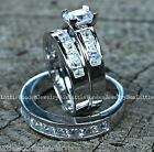 His and Hers 925 Sterling Silver 14k White Gold Wedding Ring Bridal Band Set