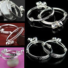 NE 2X Charms 925 Sterling Silver Baby Kids Bangle Bells Bracelet Jewellery Gift