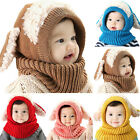 Girls Boys Toddler Baby Winter Beanie Warm Hat Hooded Scarf Earflap Knitted Cap
