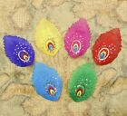 """10PCS Embroidered Six Color Sequins Feather Patch Iron On Appliques Trim 3""""X5"""""""