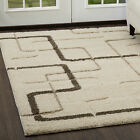 Modern Ivory Cut Loop 3D Area Rug Contemporary Abstract Lines Floor Décor Carpet
