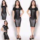UK Women Sexy Faux PU Leather Slim Bodycon Short Sleeve Cocktail Pencil Dress