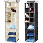 7 Shelf Hanging Organiser Wardrobe Clothes Tidy Shoes Socks Storage Black/Cream
