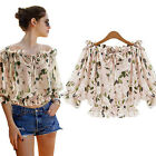Sweet Womens Girl 1/2 Sleeve Lace Shirt Floral Chiffion Blouse Tops T-shirt