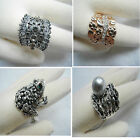 Austrian Crown Dark Clear Crystal Victorian Bead Rose Gold Silver Wide Ring