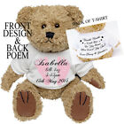 Personalised Teddy Bear New Baby Girl Boy Birth Details Christening Gift Present