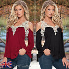 UK Sexy Womens Ladies Lace Casual Loose Long Sleeve Tops Shirt Blouse Tee 8-14