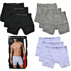 Tommy Hilfiger Underwear 3 Pack Mens Boxer Briefs Mid Rise Black White Grey Blue