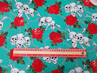 Skull chained Roses JADE 100% cotton Fabric material retro / vintage rockabilly