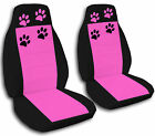 Fits 2015 Dodge Dart Black Seat Covers with a Hot Pink Insert Paw Prints ABF