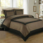 Hotel Taupe/Black Egyptian Cotton 3-Pieces Duvet Cover Set