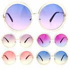 SA106 Oceanic Color Lens Large Round Circle Double Wire Rim Sunglasses