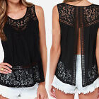 CHIC Fashion Women Summer Casual Blouse Tank Tops Sleeveless Lace Vest T-Shirt