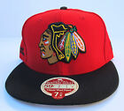 Chicago Blackhawks Red On Black Heritage Series All Sizes Fitted Cap Hat New Era