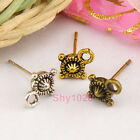 12Pcs Tibetan Silver,Antiqued Gold,Bronze Flower Earring Post 8x15mm M1379