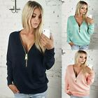 Hot Fashion Women V-neck Tops Tee Long Sleeve Shirt Casual Blouse Loose T-shirt