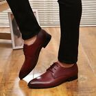 New Pointed Toe Dress Shoes Mens British Style Casual Wing Tip Wedding Shoes e25