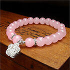 Fashion Women's Candy Color Heart Round Crystal Bracelet Beads Bangle Jerwelry