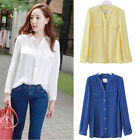 Cute Ladies Women's Chiffon Tops Long Sleeve Button Down Shirt Casual Blouse CA