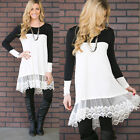 SUMMER Women Casual Long Sleeve Loose Top Blouse Lace Trim Tunic Shirt Dresses