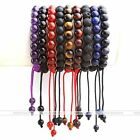 8mm Gemstone Lava Rock Stone Healing Round Bead Braided Woven Bracelet Women