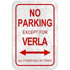No Parking 8* x 12* Plastic Sign Names Female Va-Ve