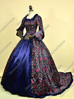 Renaissance Victorian Floral Prom Dress Gown Theater Reenactment Costume 159