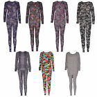 Women Ladies Camouflage Army Loungewear Tracksuit Two Piece Set Jogger Bottom